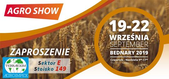 Zaproszenie na wystawę rolniczą AGRO SHOW 2019